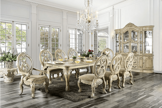 Tuscan Villa Antique White Traditional Formal Dining Room ...