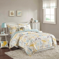 Woodland Twin Size Kids 3pc Comforter Set in Beige, Aqua and Yellow Animal Print