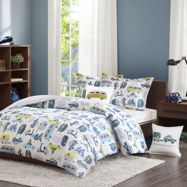 Road Trip Kids Twin Size 3pc Duvet Set in Blue, Green and White Car Prints