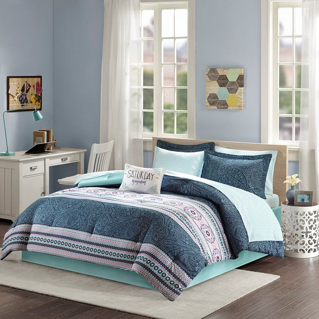 Twin blue striped sheets