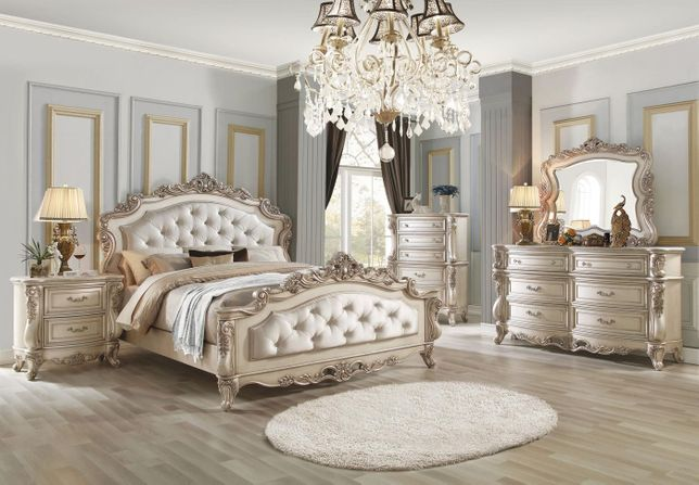 Traditional Antique White Upholstered Carved Wood Luxury Bedroom Set