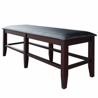 Unity Billiards Spectator Storage Bench in Black Leatherette & Mahogany Finish