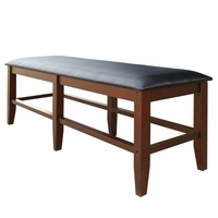 Unity Billiards Spectator Storage Bench in Black Leatherette & Walnut Finish