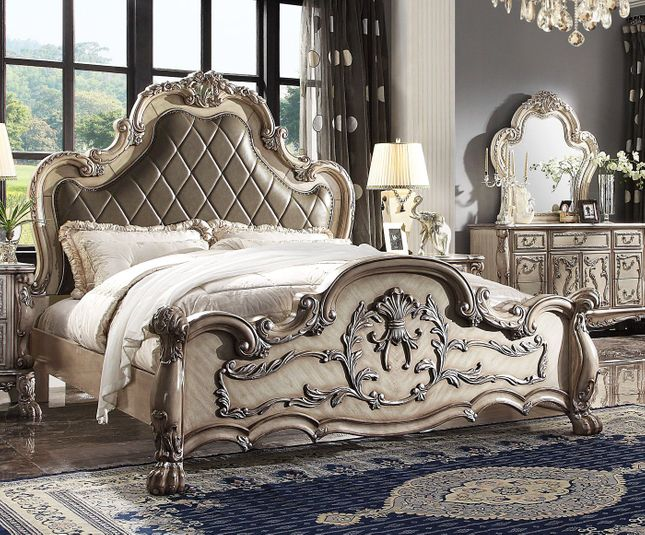 Valentine Antique Style King Bed With Carved Details In Antique White