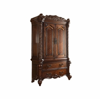 Vendome Victorian Ornate 2-Drawer TV Armoire in Cherry Wood Finish