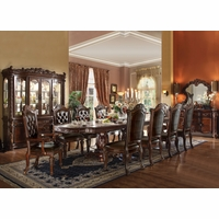 Vendome 5pc Formal Double Pedestal Dining Table Set in Cherry Wood Finish