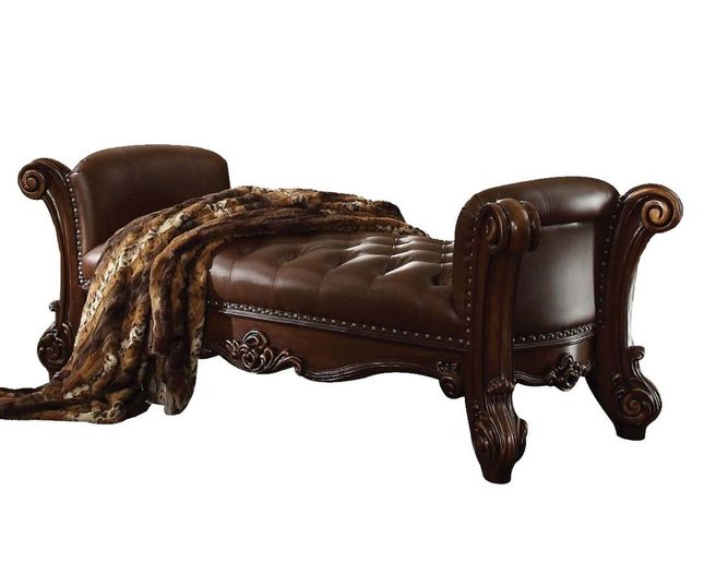 Vendome Victorian Button Tufted Brown Faux Leather Bench in Cherry Wood