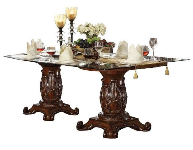 Vendome Formal 96 Glass Top Double Pedestal Dining Table In Brown Cherry