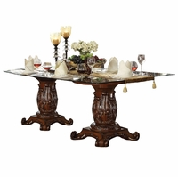 "Vendome Formal 96"" Glass Top Double Pedestal Dining Table in Cherry Wood"
