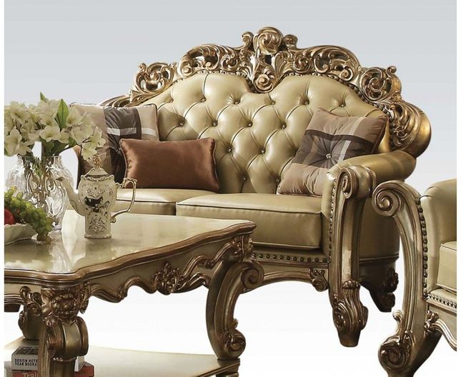 Vendome Formal Baroque Gold Patina Loveseat With Crystal Tufted Faux Leather