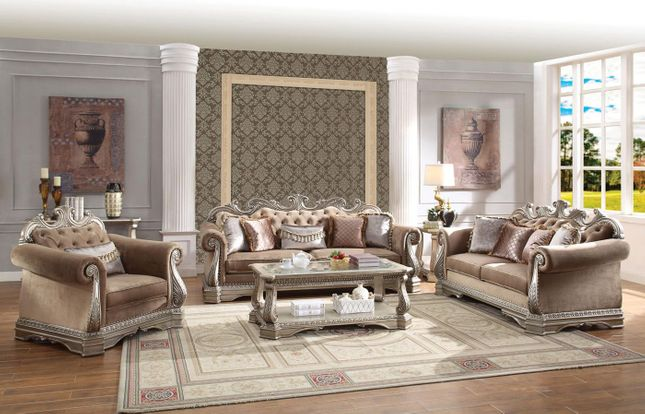 Traditional Luxury Sofa & Loveseat Button Tufted Fabric Formal Living Room Set