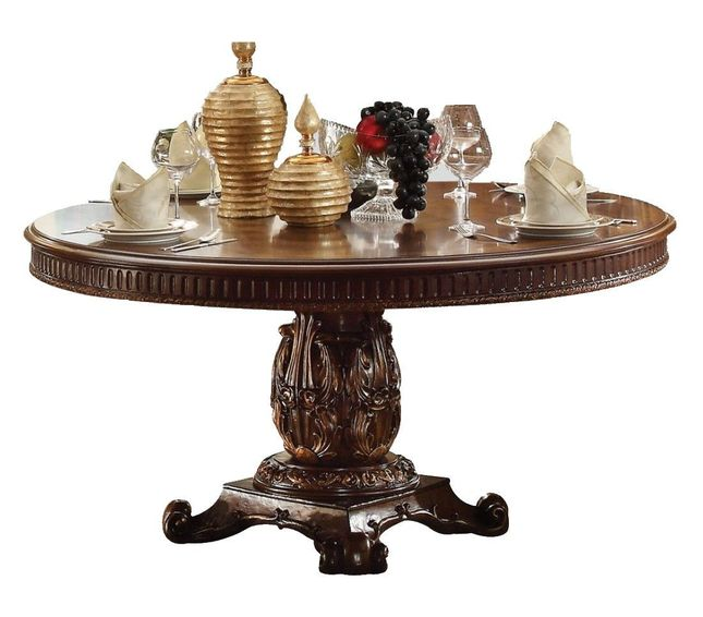 "Cleopatra Ornate Traditional Cherry Formal Dining Room: Vendome Formal Ornate 60"" Wood Top Round Dining Table In"