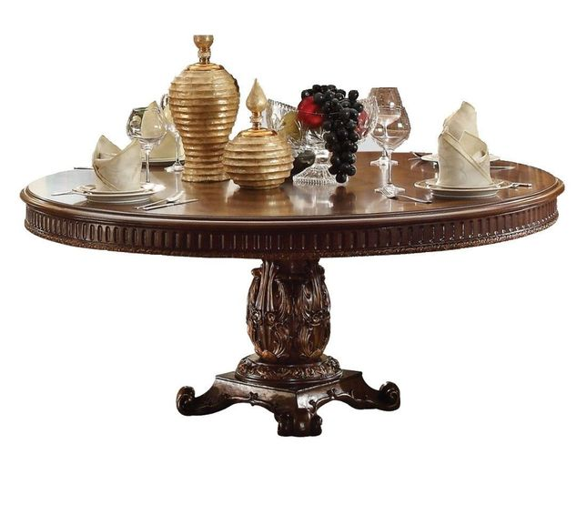 """Vendome Formal Ornate 72"""" Wood Top Round Dining Table In Brown Cherry"""