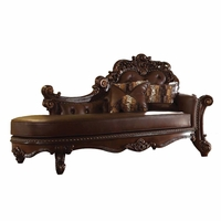 Vendome Formal Ornate Faux Leather Button-Tufted Chaise In Brown Cherry