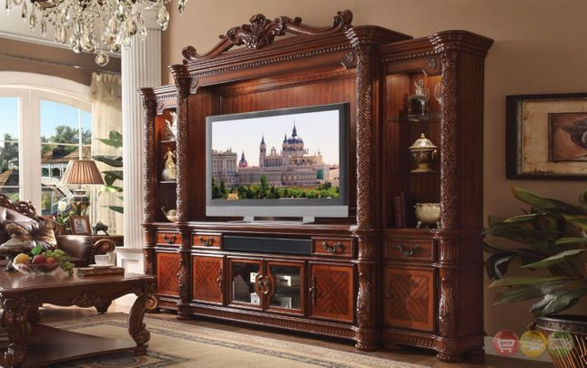 """Vendome II Ornate 80"""" Entertainment Wall Unit In Traditional Cherry"""