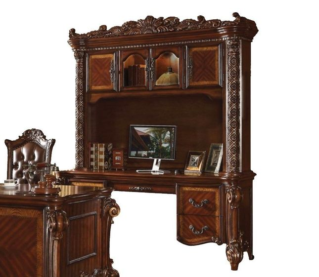 Vendome Ornate Traditional Computer Desk Hutch In Brown Cherry