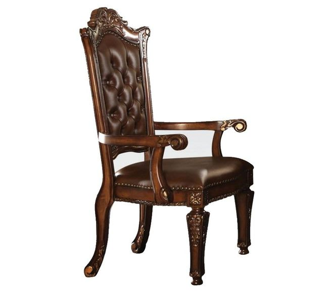 Vendome Traditional Button Tufted Faux Leather Arm Chair In Cherry