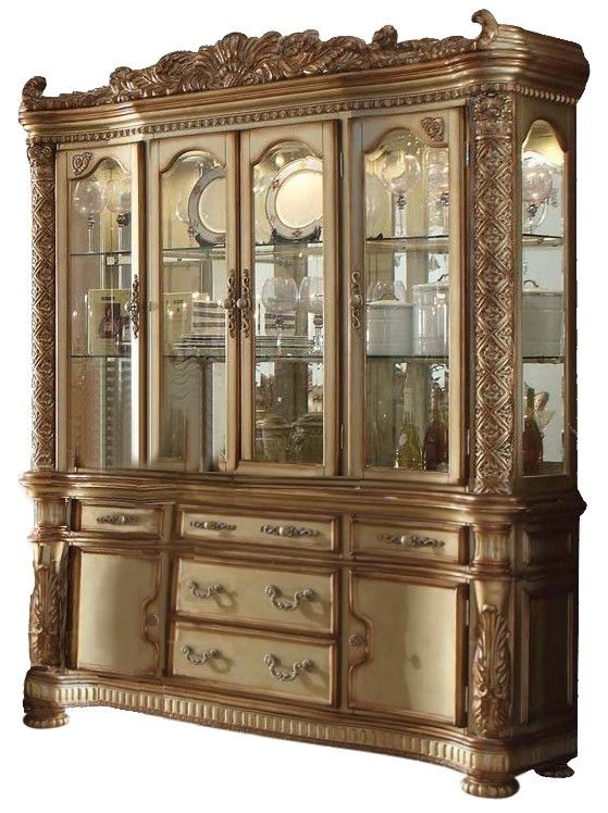 Vendome Traditional Carved Floral China Cabinet In Gold
