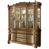 Vendome Traditional Carved Floral China Cabinet In Gold Patina Finish