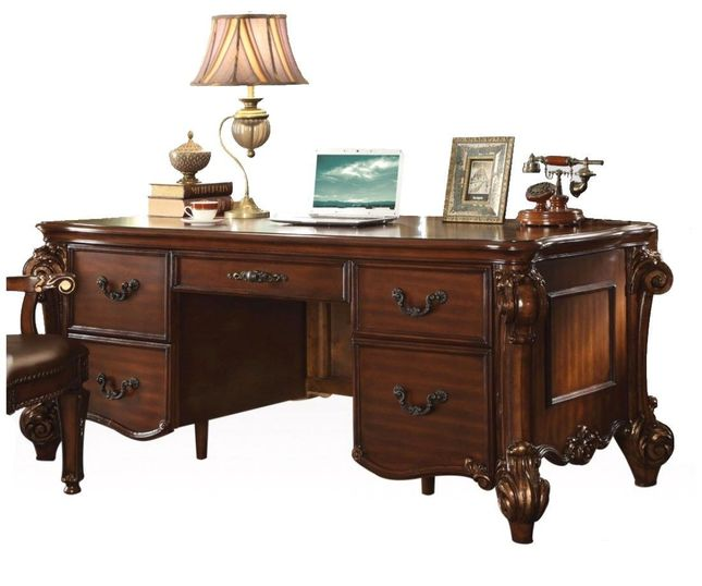 Awe Inspiring Vendome Traditional Ornate 5 Drawer Executive Desk In Cherry Download Free Architecture Designs Rallybritishbridgeorg