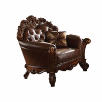 Vendome Victorian Brown Faux Leather Chair With Carved Wood Accents