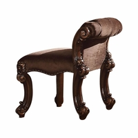 Vendome Victorian Brown Faux Leather Upholstered Vanity Stool, Cherry Wood