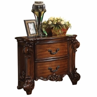 Vendome Victorian Ornate 2-Drawer Nightstand in Cherry Wood Finish