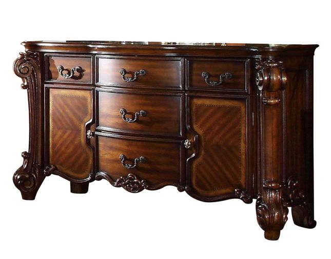 Vendome Victorian Ornate 5-Drawer Dresser w/ Cabinets in Cherry Wood Finish