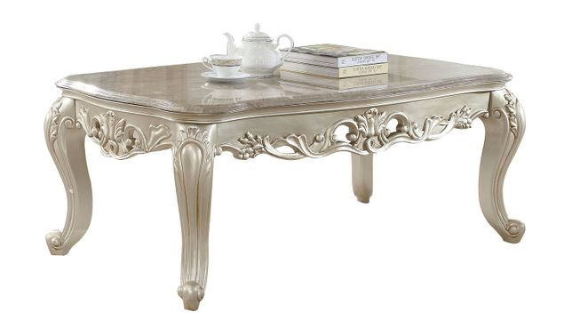 Marble And Silver Coffee Table.Venice Pearl Marble Coffee Table With Silver Accents