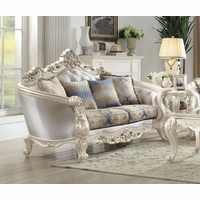 Venice Silver Crystal Tufted Loveseat With Pearl White Frame