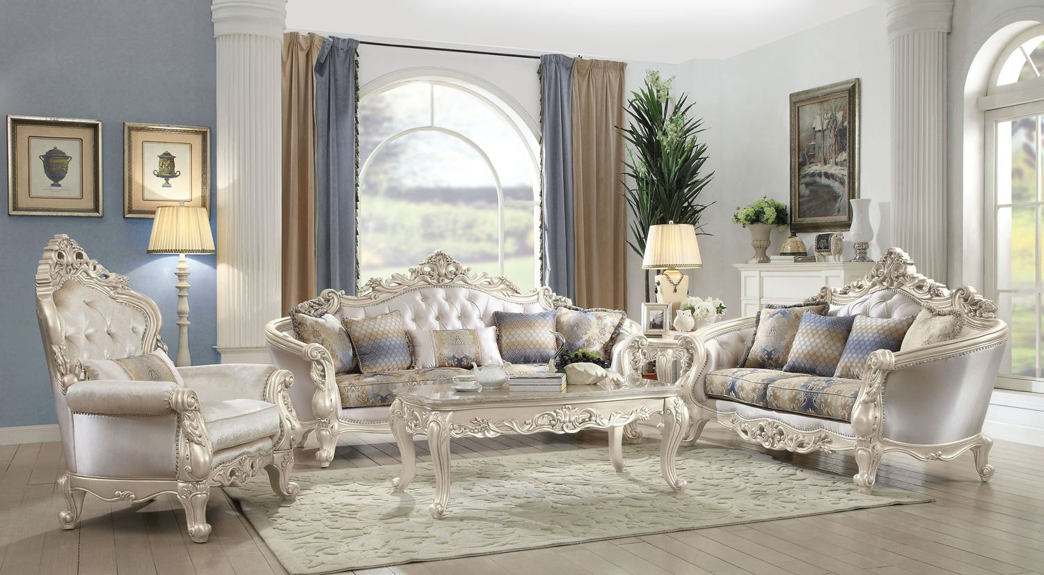 Venice Silver Crystal Tufted Sofa Amp Loveseat Set With