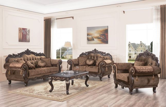 Verona Traditional Brown Floral Sofa & Loveseat Carved Wood Frame