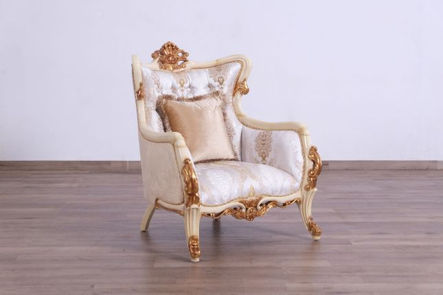 Traditional Victorian Ivory Jacquard Chair w/Antique Beige & Dark Gold Leaf Finish