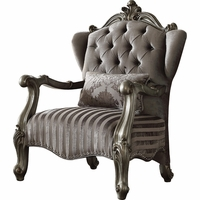 Versailles Antique Platinum Tufted Velvet Nailhead Chair with Scrolled Trim