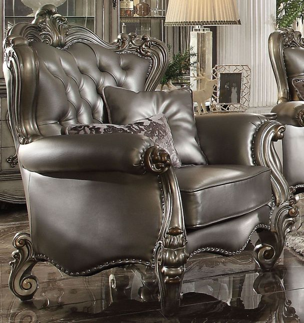 Pleasing Versailles Silver Faux Leather Tufted Wingback Chair W Ncnpc Chair Design For Home Ncnpcorg