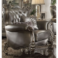 Versailles Silver Faux Leather Tufted Wingback Chair w/Nailheads in Platinum