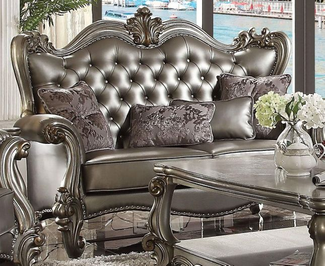 Versailles Silver Faux Leather Tufted Wingback Loveseat w/Nailheads in Platinum