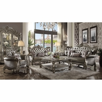 Versailles Silver Faux Leather Tufted Wingback Sofa & Loveseat Antique Platinum