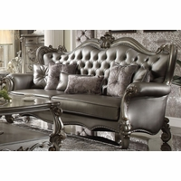 Versailles Silver Faux Leather Tufted Wingback Sofa w/Nailhead Trim in Platinum