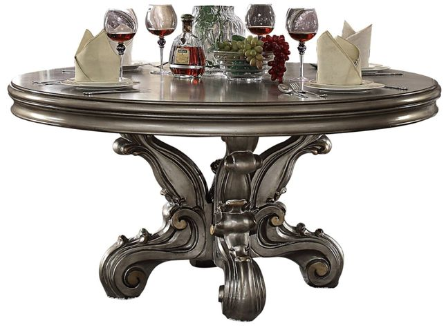 Versailles Traditional 60 Round Pedestal Dining Table Antique