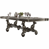 "Versailles Traditional 84""-120"" Formal Dining Table in Antique Platinum Finish"