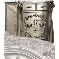 Versailles Traditional Antique Platinum 5-Drawer Chest w/ Scroll Overlay Details