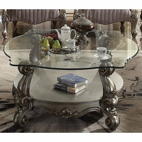 Versailles Traditional Antique Platinum Glass Top Coffee Table w/ Cabriole Legs