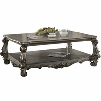 Versailles Traditional Antique Platinum Wooden Coffee Table w/Scrolled Details