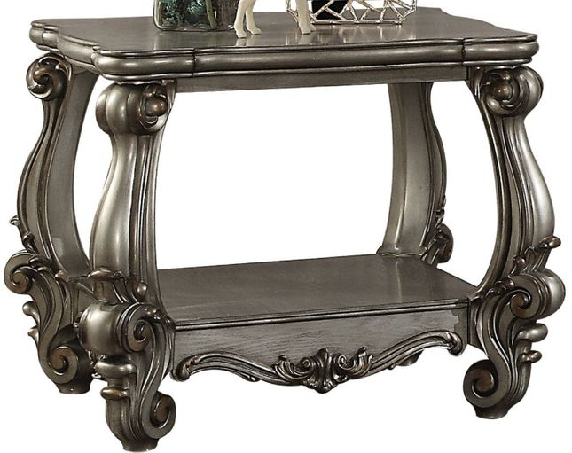 Versailles Traditional Antique Platinum Wooden End Table with Scrolled Details