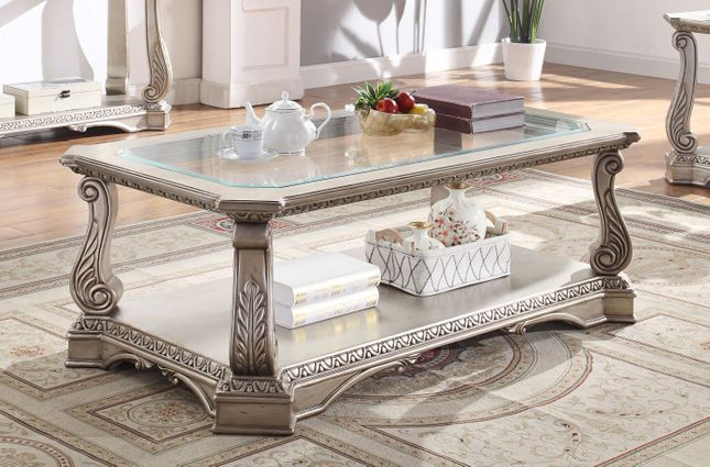 Traditional Rectangular Glass Top Coffee Table Antique Silver Platinum