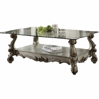 Versailles Traditional Glass Top Antique Platinum Coffee Table w/Scroll Details