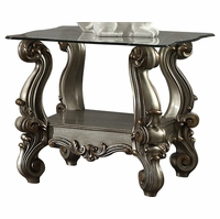 Versailles Traditional Glass Top Antique Platinum End Table w/Scrolled Details