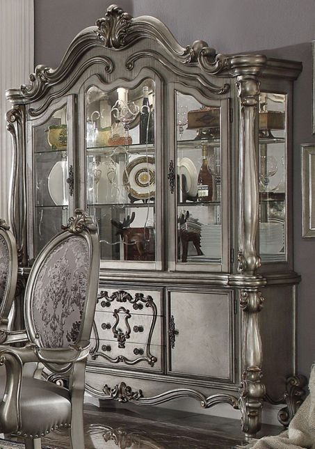 Versailles Traditional Two Door China Cabinet w/Drawers, Antique Platinum Finish