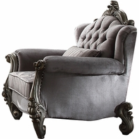 Versailles Tufted Velvet Wingback Chair with Scrolled Trim in Antique Platinum